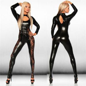 Seksi Catsuit Lady Deri Kostüm PVC Tulum Lateks Oyunu Bodysuit Clubwear Dantel Kasık Fermuar