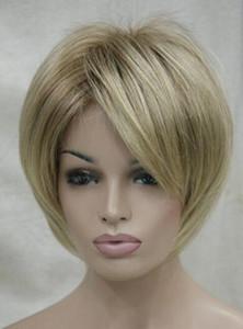 ENVÍO GRATIS + + Nueva y encantadora mezcla rubia con peluca recta corta para mujer de raíz marrón