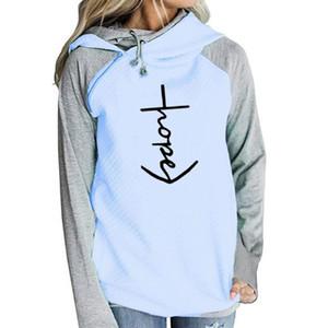 Hore Mektuplar Baskı Kadınlar Için Fermuar Dekorasyon Tişörtü Hoodies Femmes Hoodies Kızlar Gevşek Tops Kadın Komik Toka Sonbahar