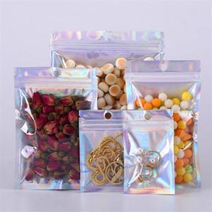 Множественных размеры Resealable Запах Proof Сумка Фольга сумка Плоской Домашняя печать сумка для партии благосклонности хранения продуктов питания голографического цвета