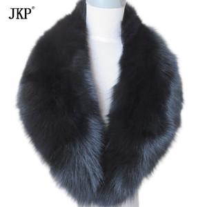 Echt Fox Pelzkragen Frauen 100% Natürliche Fuchspelz Schal Winter Warme Pelzkragen Schals Schwarz D19011003