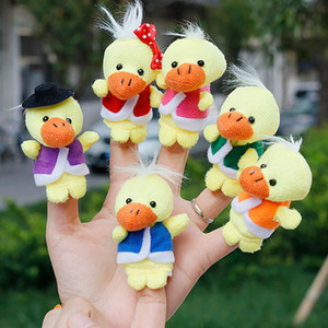 6 pcs / set Cute charge Yellow Ducks Doll hand puppets for kids Glove Hand finger puppets Plush Finger Toys #EW