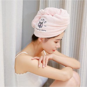 Shower caps thicken hair drying towel hat cap microfibre quick dry turban for bath shower pool cute hair-drying cap