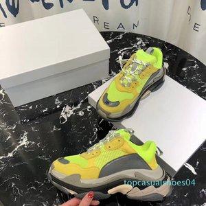 Triple S Sneaker Men Trainers Casual Shoes Women Low Top Chunky Retro Sneaker Leather Mesh Patchwork Multicolor Triple S Casual Sneaker t04