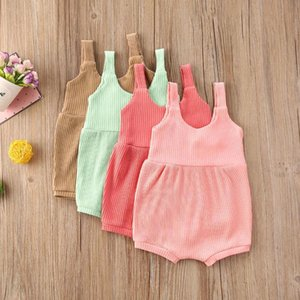 Baby Summer Clothing Baby Romper Sleeveless Sling Solid Loose Button Decor One-piece Striped Knitted Ribbed JumpsuitYAfX#
