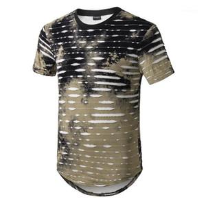 Verão Curto Designer Alto Longline Buracos Rua Mens Mens Longo O-Pescoço Impresso T-shirts RLKFC