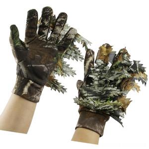 Nuova caccia esterna Fishing 3D Golf Training Aids Golf Foglie d'acero Bionic Camouflage guanti dito pieno antiscivolo Guanti da caccia