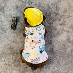 Cartoon Stampato 20ss garza carino animale domestico copre Fashion Dog gilet cane di alta qualità magliette Teddy Cat Clothes