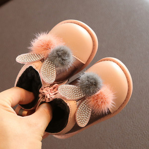 bunny princess shoes leather baby girl toddler shoes rubber sole warm plush snow boots chilren's walking shoe
