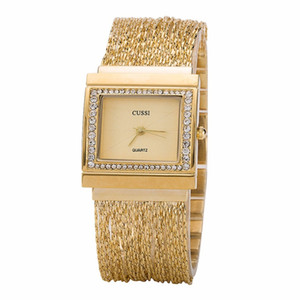 Cussi 2018 New Rectangle Womens Watches Luxury Rhinestone Ladies Bracelet Relojes Relojes de pulsera de cuarzo de moda Relogio Feminino Y19062402