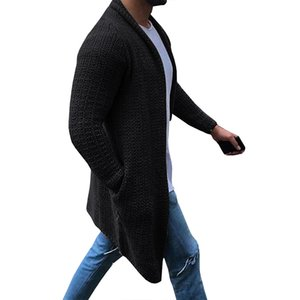 Laamei Cardigan Men Long Sleeve Midi Sweater Coat Pocket Winter and Autumn Casual Solid Color Long Cardigans Pull Homme Hiver