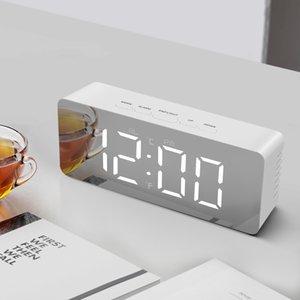 Relógio de mesa LED Espelho relógios eletrônicos de desktop Hora Data Temper Snooze Alarm Clock Noite Home office luz Decor Desk Assista