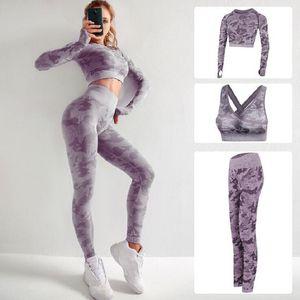 3pcs / set Yoga Set Mulheres Seamless roupa da aptidão Yoga Bra Esporte longas mangas Tops Terno Camouflage Gym Leggings Pants Workout