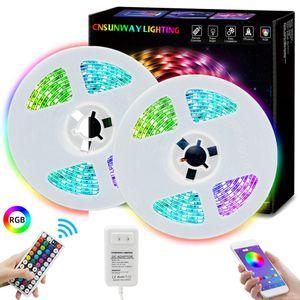 Light Strip RGB LED 5M 10m flessibile 16.4FT 32.8ft 5050 SMD 5050 LED con telecomando RF 44key Controller + con Bluetooth APP
