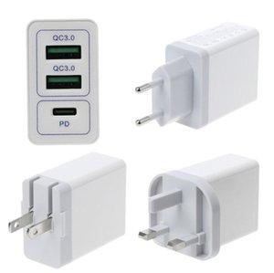 Dual USB QC 3,0 + PD Wall Fast Charger Быстрая зарядка адаптер для мобильных телефонов Samsung S8 S9 S10 Примечания 10