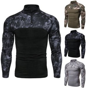 Camouflage Fitness Tshirts Long Sleeve Stand Collar Fashion Casual Apparel Man 2020SS Sportwear Mens New Designer