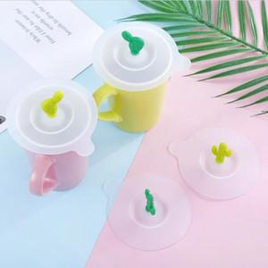 Sevimli karikatürler 3D kaktüs fincan kapakları gıda sınıfı kullanımlık ısıya dayanıklı sızdırmaz sızdırmaz silikon kupası kapaklar kapak kahve kupa kapaklar kapak