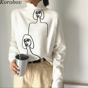 Korobov femmes coréennes 2019 New Chandails Cartoon broderie Femme Jumper manches longues Pull à col roulé Mujer Sueter 76271MX190926