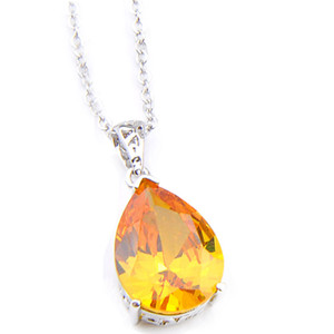 6Pcs Luckyshine Hot Excellent Shiny Teardrop Shaped Citrine Gems 925 Silver Necklaces Topaz Pendants Lady Jewelry Holiday Christmas Party