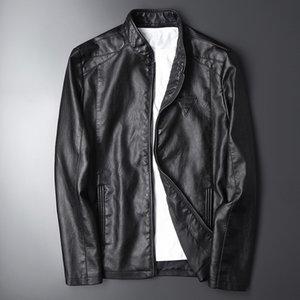 mens designer Autumn handsome slim short youth printed leather jacket motorcycle clothing coat TideNBBJ