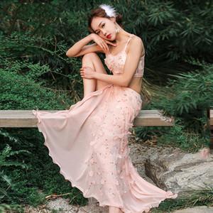 Nueva llegada bordado de flores 2 unidades conjunto equipo de baile de las mujeres traje de danza oriental práctica ropa blusa larga falda rosa DWY1839