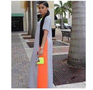 Longitud de la ropa de moda Mujer Maxi ropa ocasional verano de las mujeres diseñador con paneles de impresión en color de los vestidos de cuello redondo manga corta palabra