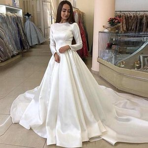 Vintage Long Sleeves Satin Wedding Dresses Jewel Neck Court Train Plus Size Wedding Bridal Gowns vestidos de novia