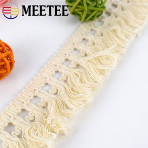 Meetee 5cm de largura Beige Cotton Fringe guarnição Tecido Tassel fita DIY costura cortina de renda Home Decor Garment Craft material AP369