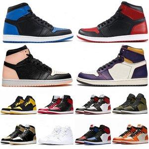 2020 zapatos de baloncesto de los hombres de moda de la nueva llegada 1s Top OG carmesí Tinte Corte Amor púrpura amarillo Jumpman Bred formadoras zapatillas de deporte con la caja