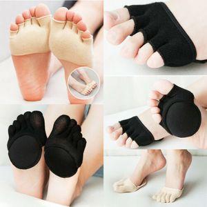 1pair Kadınlar Dayanıklı Toeless Çorap Ayak bileği Tutma Açık Burun Nefes Pilates Beşparmak Kaymaz Emici Bayanlar Çorap Terlik Yeni