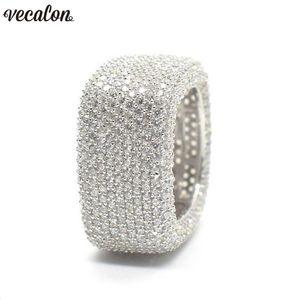 Vecalon Luxo Promise Ring 925 prata esterlina Micro Pave 450pcs Diamante Cz noivado anéis anel de casamento para as mulheres Homens Jóias
