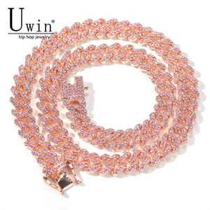 Uwin S-Link Miami or rose 12mm Cubain Lien rose strass Collier chaîne complète Bling Bling Punk Charm Hiphop Bijoux