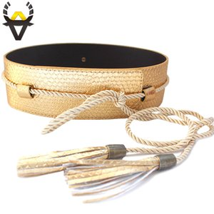 Fashion belts for women clothing High quality PU leather belt female Wide tassel strap Gold waistband woman Wholesale price sale