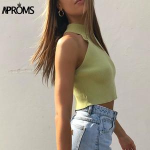Aproms Vintage High Neck ребристые трикотажные майки женские летние повседневные белые твердые стрейч растениеводство топ для женской одежды 2020