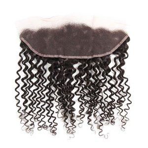 13x4 ricci Pizzo frontale Chiusura indiano riccio crespo chiusura del merletto pezzo 100% del Virgin profondo arricciatura dei capelli umani frontale Chiusura