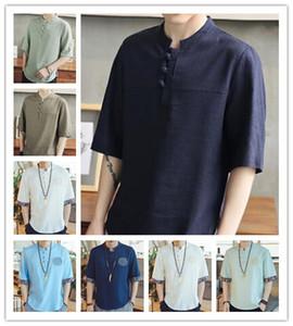T Shirt 2019 Hommes Été Mode Haute Qualité Gris jaune Blanc Lin Lin Manches Courtes Blanc Style Chinois Facile loisirs T-Shirt 02