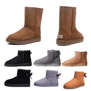 New WGG Women boots Short Mini Australia Classic Knee Tall Winter Snow Boots Designer Bailey Bow Ankle Bowtie Black Grey chestnut red 35-43