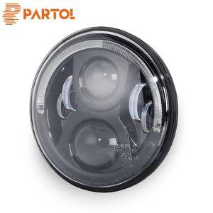 Touring Softail için toptan 7inch 36W Yuvarlak LED Projektör Far ile Halo Halka Melek Göz Hi-Lo ışın H4 canbus koşum 12V / 24V