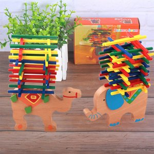 Animal de madeira Elefante Camelo Balanceamento Blocos de Construção Jogo de Equilíbrio Montessori Blocos de Presente Para A Criança Bebê Educacional Brinquedo