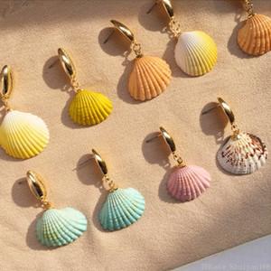 Main colorée Shell Boucle d'oreille en or de Bohème irrégulière Seashell Conch boucles d'oreilles pour les femmes Fille Lady Summer Beach vacances Bijoux cadeau