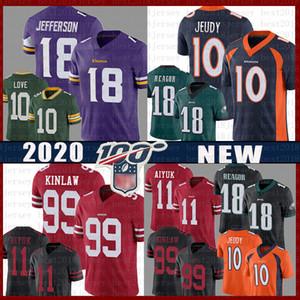 Denver Jerry Jeudy Broncos'u Jersey Philadelphia Jalen Reagor Eagles Justin Jefferson Aşk Vikingler Packer Brandon 99 Aiyuk Javon Kinlaw 49er