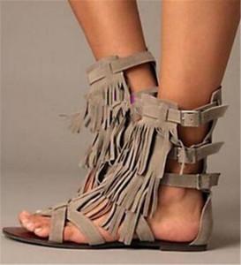 Le donne occidentali di modo Open Open pelle scamosciata Toe nappe sandali gladiatore piatto fibbie cinturino frange sandali piatti Bohemia sandali