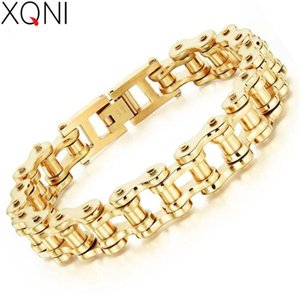 XQNI Bike Bicycle Chain Link Bracelet For Men Gold & Silver Color Classic Style High Quality Fashion Bracelet Jewelry Gift
