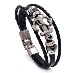 Leder-Legierung Anker-Armband-Mann-beiläufige Persönlichkeit PU gewebte Perlen Armband-Weinlese-Punk-Armband-Frauen arbeiten Schmuck Großhandel