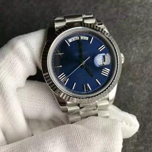 chaud de nouveaux hommes de mouvement automatique visage bleu en verre saphir Stainess mécanique de balayage de straprome originale montre-bracelet pour hommes