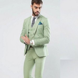 Wedding Tuxedos made one button fashion men wedding suits light green 3pcs formal tuxedo groom tuxedo custom (jacket + pants + vest)A123