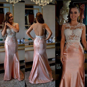 Vestito sexy 2020 di colore rosa schiena aperta Prom Dresses sirena Appliques pizzo lungo cerniera posteriore raso degli abiti di sera del partito di promenade
