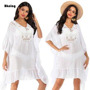 Bkning nappa tunica dalla spiaggia vestito bianco Copri bagno Donne Crochet vestito di nuoto estate del cotone coprire Bikini coverups Abiti Solid