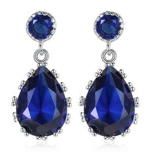 2019 temperamento mujer pendientes de cristal azul elegante gota de agua colgante pendientes declaración de moda joyería romántica