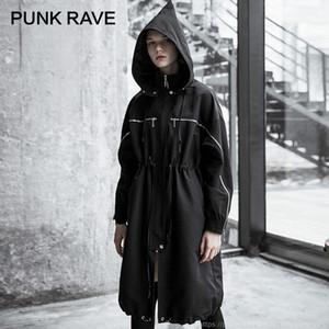 Ceket Coat Streetwear Windproof PUNK RAVE Kadın Punk Sokak Stili Kara Cadı Hat Gevşek Uzun WINDBREAKER Kişilik